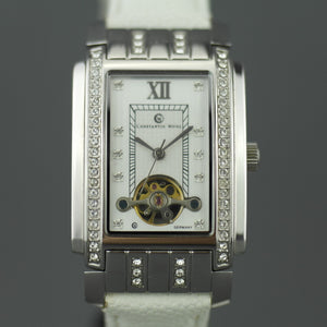 Constantin Weisz Diamonds Mechanical wrist watch white leather strap