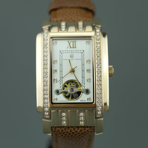 Mechanic Constantin Weisz gold plated watch brown leather strap
