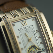 Load image into Gallery viewer, Constantin Weisz gold plated Mechanical watch brown leather strap