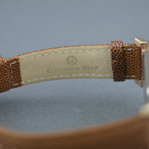 Constantin Weisz gold plated Mechanical watch brown leather strap