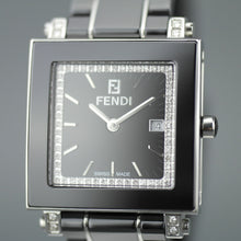 Fendi Orologi Quadro Black Ceramic and Diamonds Swiss wrist watch