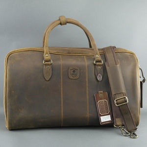 Ashwood Genuine Leather Holiday Business Sport Large Holdall Travel bag mud colour