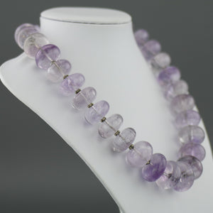 Vintage huge purple amethyst beads necklace with solid silver clasp