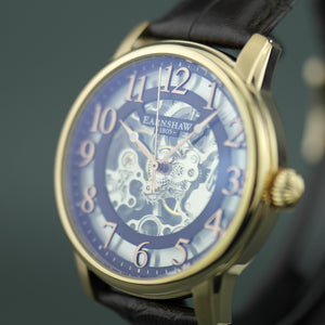 Thomas Earnshaw Longitude Skeleton Mechanical wrist watch with brown leather strap