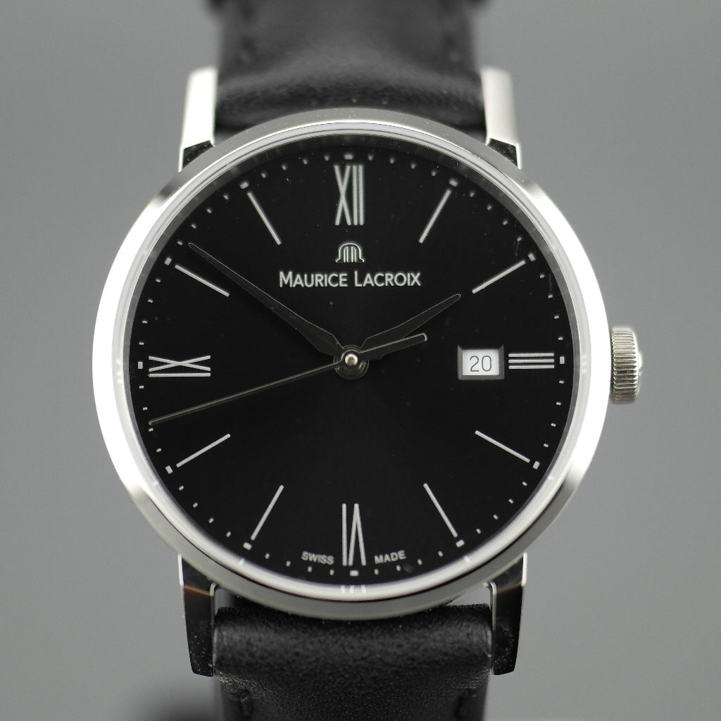 Maurice Lacroix Eliros Swiss wrist watch with Leather Strap and Black Dial