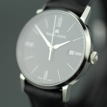 Load image into Gallery viewer, Maurice Lacroix Eliros Swiss wrist watch with Leather Strap and Black Dial