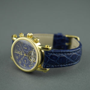 Constantin Weisz Automatic open heart gold plated wrist watch Date blue dial