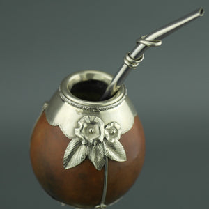 Vintage Yerba mate pumpkin cup mounted in Alpaca Nickel silver