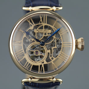 3b1ce11c655ba1 Automatic Skeleton wrist watch Beverly Hills Polo Club with blue leather  strap