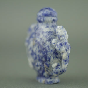 Stunning Lapis lazuli snuff bottle with leopards