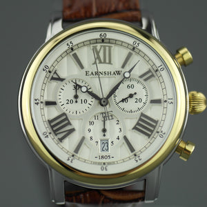Thomas Earnshaw Longcase 43 Swiss made quartz wrist watch with brown leather strap