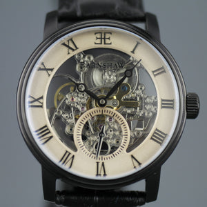 Thomas Earnshaw Westminster Automatic Skeleton wrist watch with black leather strap