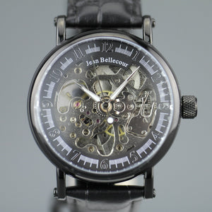 Jean Bellecour Automatic Black Skeleton Edition wrist watch leather strap