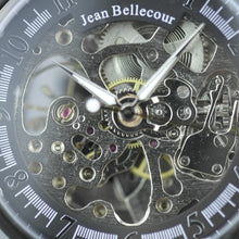 Load image into Gallery viewer, Jean Bellecour Automatic Black Skeleton Edition wrist watch leather strap