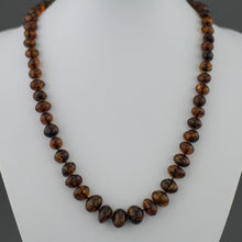 Load image into Gallery viewer, Natural shape Genuine Baltic Amber beads necklace dark cognac colour