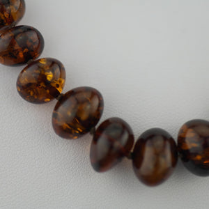 Natural shape Genuine Baltic Amber beads necklace dark cognac colour