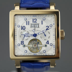 Constantin Weisz gold plated Automatic open heart wrist watch with Nacre MOP dial