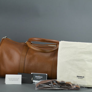 Shinola Detroit signature genuine leather medium gym Duffle bag