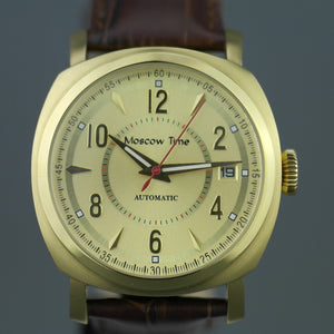 Moscow Time gold plated automatic wrist watch with brown leather strap