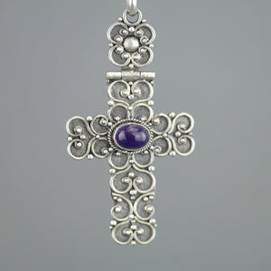 Antique sterling silver cross pendant with Amethyst cabochon