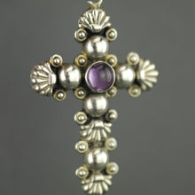 Load image into Gallery viewer, Vintage sterling silver cross pendant with amethyst cabochon stone