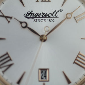 Ingersoll Grafton gold plated quartz wrist watch with Roman numerals and leather strap