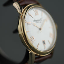 Load image into Gallery viewer, Ingersoll Grafton gold plated quartz wrist watch with Roman numerals and leather strap