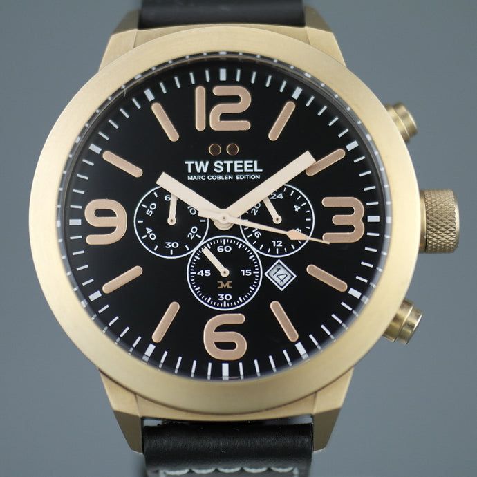TW Steel Marc Coblen Limited Edition Chronograph Mens watch with black leather strap