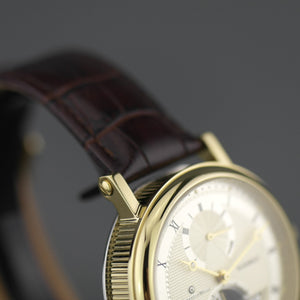 Constantin Weisz Automatic gold plated gent's wrist watch 34 jewels leather strap