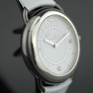 Pomellato 67 Limited Edition Ladies wristwatch with Diamonds, white Leather strap