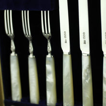 Antique 1925 sterling silver set of forks and cutlery knives with Nacre handles Sheffield