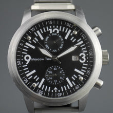 Load image into Gallery viewer, Moscow Time Chronograph Quartz black dial wrist watch with bracelet