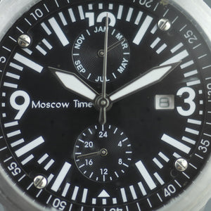 Moscow Time Chronograph Quartz black dial wrist watch with bracelet