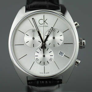Calvin Klein Swiss Chronograph Men's wrist watch with black leather band