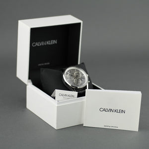 Calvin Klein Men's wrist watch Swiss Chronograph with black leather band