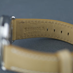 Shinola 43mm Men's wrist watch The Canfield Bold with natural leather strap