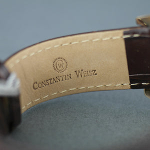 Constantin Weisz Gold plated Automatic 22 jewels open heart wrist watch with leather strap