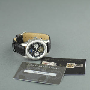 Constantin Weisz Automatic wrist watch with date day night and black leather strap