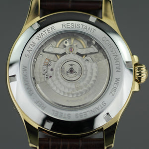 Constantin Weisz Gold plated Automatic watch with Nacre Dial and leather strap