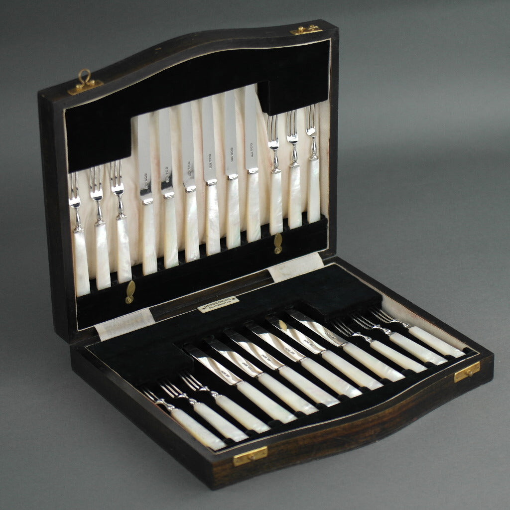 Antique 1933 Sheffield solid silver set of twelve forks and cutlery knives with Nacre / MOP handles