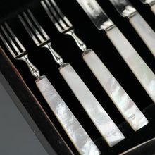 Load image into Gallery viewer, Antique 1933 Sheffield solid silver set of twelve forks and cutlery knives with Nacre / MOP handles