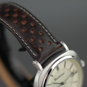 Barbour Beacon Drive wrist watch white dial with date and leather strap