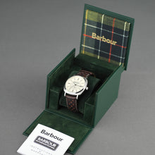 Load image into Gallery viewer, Barbour Beacon Drive wrist watch white dial with date and leather strap