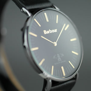 Barbour Hartley wrist watch with black dial and leather strap