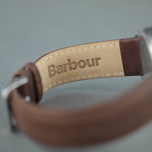 Barbour Jesmond Mens wrist watch silver dial and leather strap