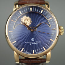 Load image into Gallery viewer, Constantin Weisz Night / Day 35 Jewels Automatic gold plated wrist watch with strap