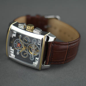 Constantin Weisz Dual time Automatic wrist watch with open heart and leather strap