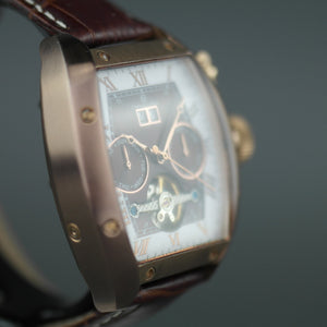 Constantin Weisz Automatic open heart bronze wrist watch with brown dial