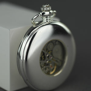 Half hunter Argo mechanic silver plated pocket watch with Roman numerals
