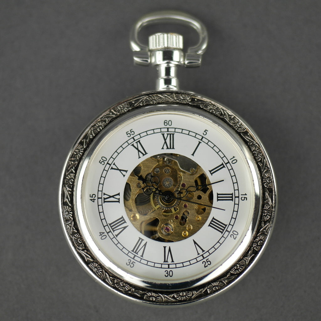 Skeleton Silver plated pocket watch with Roman numbers and snake leather